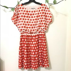 Eliza J Orange Polka Dot Pleated Skirt Dress